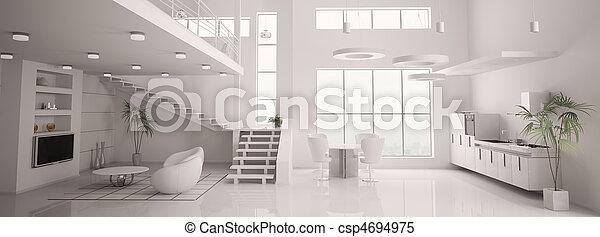 render, panorama, moderne, intérieur, blanc, 3d - csp4694975