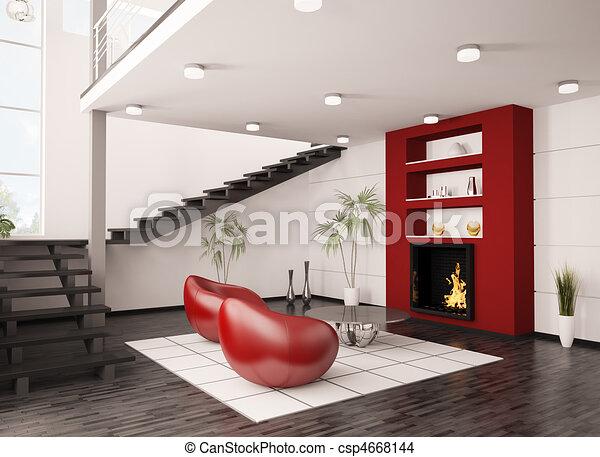 Woonkamer render trap moderne interieur openhaard d