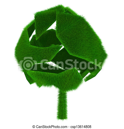 Rendered green tree covered with grass - csp13614808