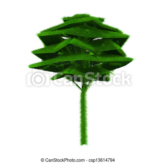 Rendered green tree covered with grass - csp13614794