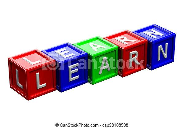 Blocks mit Worten lernen. 3D Rendering. - csp38108508