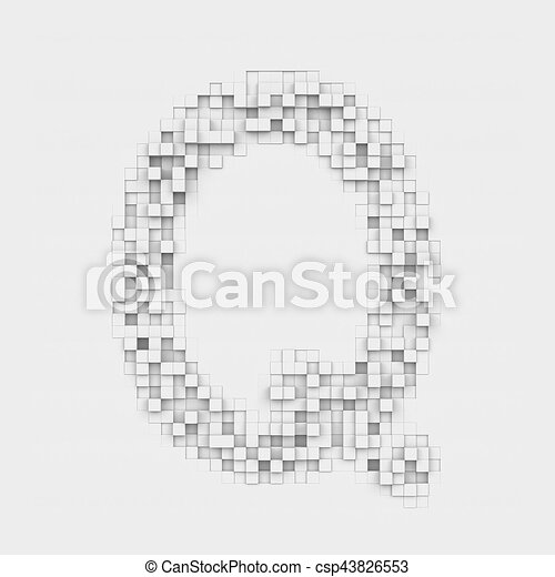 Rendering Large Letter Q Made Up Of White Square Uneven Stock