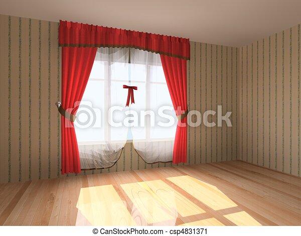 Rendering modern empty room  - csp4831371