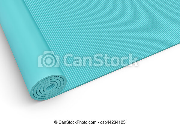 Rendering Of Blue Half Rolled Yoga Mat Close Up On White Background 3d Rendering Of A Blue Half Rolled Yoga Mat Close Up On