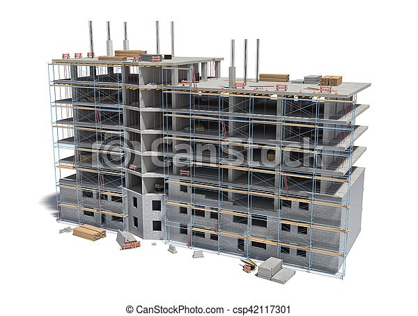 Rendering of building under construction with scaffolding and different equipment. - csp42117301