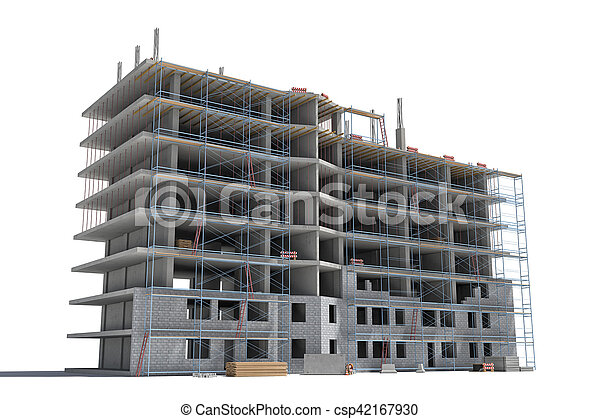 Rendering of building under construction with scaffolding and different equipment. - csp42167930