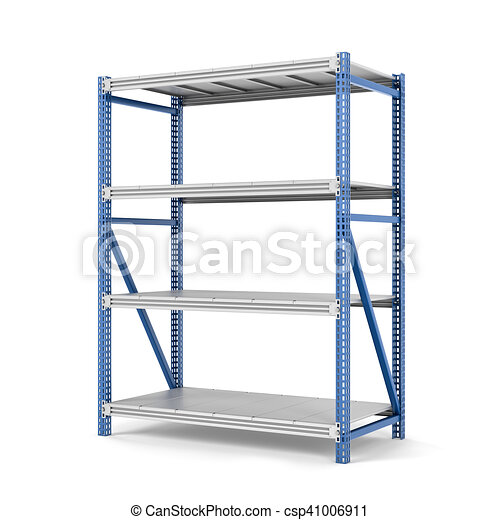 Rendering of metal rack with four shelves isolated on a clipart