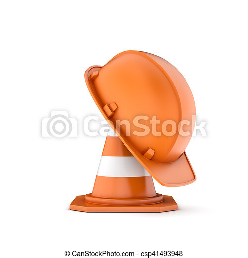 Rendering of striped traffic cone and helmet on it