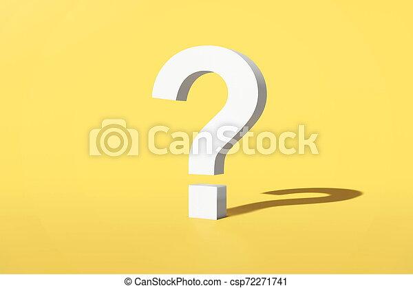 rendering., question, marque jaune, arrière-plan., 3d - csp72271741