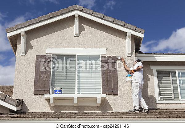 rendes, épület, zsalu, otthon, festmény, szobafestő - csp24291146