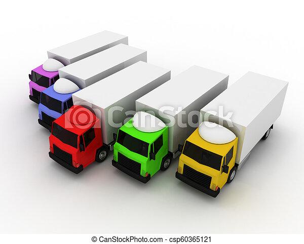 3D líder de camión de reparto concepto. Ilustración 3D - csp60365121