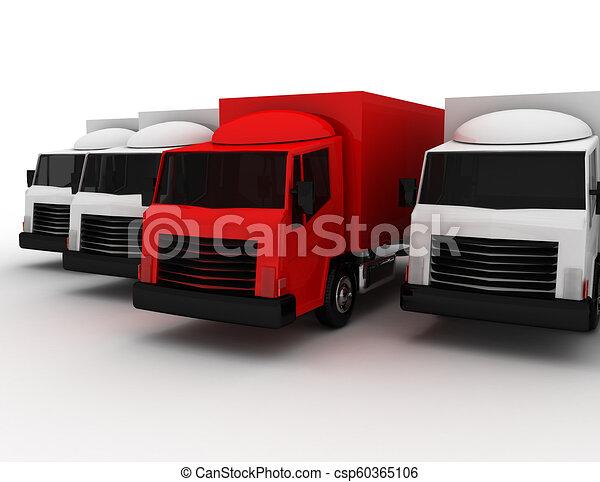3D líder de camión de reparto concepto. Ilustración 3D - csp60365106