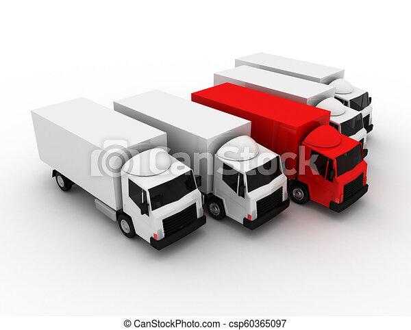 3D líder de camión de reparto concepto. Ilustración 3D - csp60365097