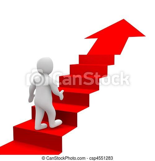 Hombre y escaleras rojas. 3d ilustrado. - csp4551283