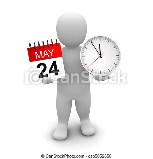 Hombre sosteniendo reloj y calendario. Ilustración 3D. - csp5052650