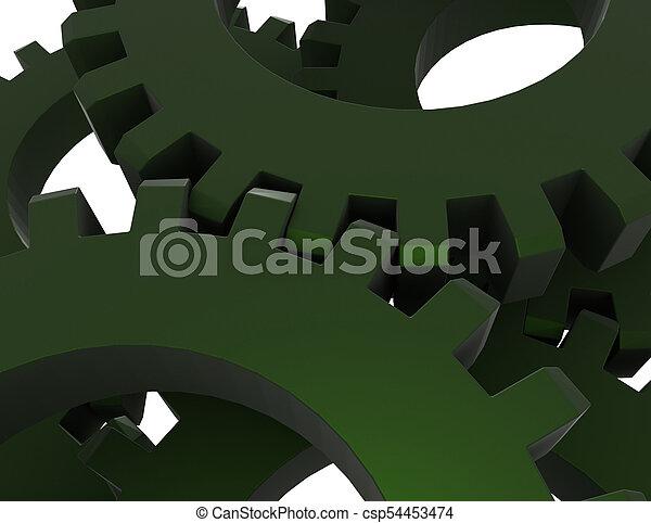 3D concepto de engranajes abstractos. Ilustración 3D - csp54453474
