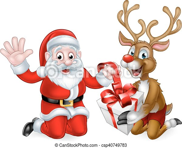 Rendier Kerstman Cadeau Kerstmis