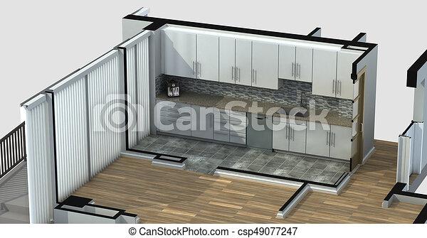 Rendre Appartement Cuisine 3d