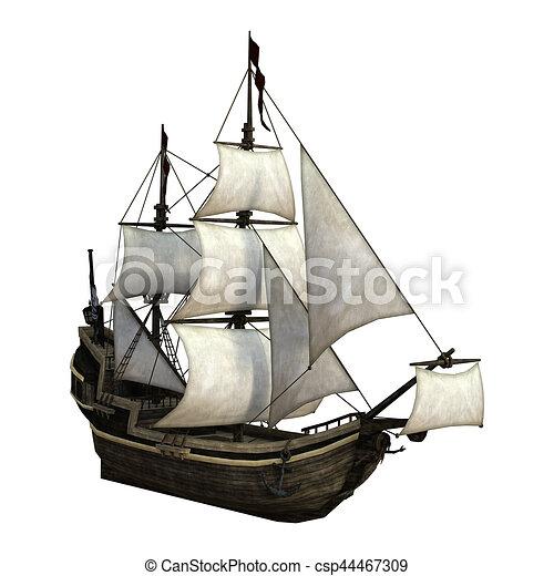 Rendre Blanc 3d Bateau Pirate Isole Pirate Rendre Fond Bateau Blanc 3d Canstock