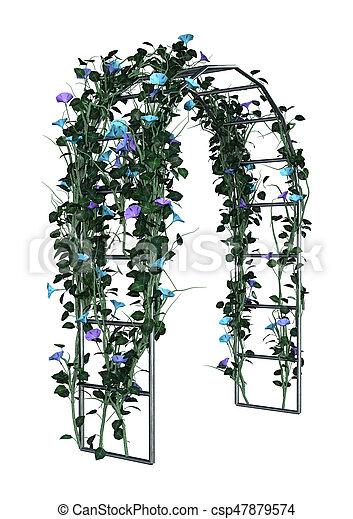 rendre, blanc, tonnelle, jardin, 3d - csp47879574