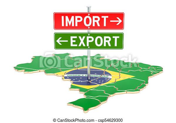 rendre, importation, concept, brésil, exportation, 3d - csp54629300