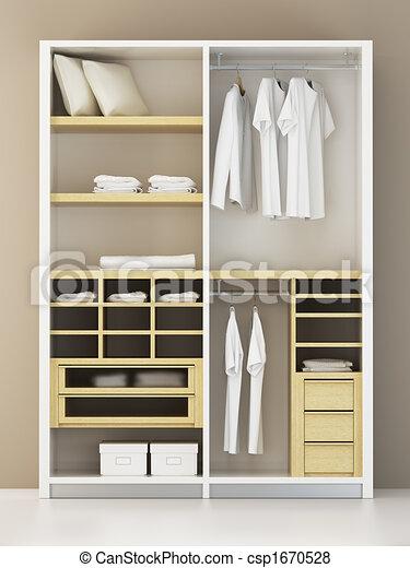 Rendre, Intérieur, Moderne, Placard, 3D Illustration De Stock