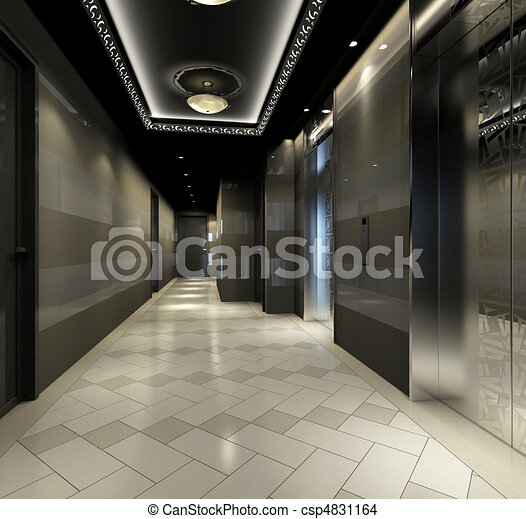 Rendre, moderne, couloir. Moderne, (3d, image, rendering), couloir ...