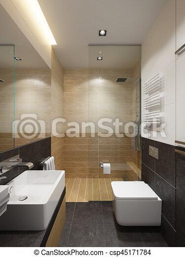 Rendre, salle bains, moderne, intérieur, 3d illustration de stock ...