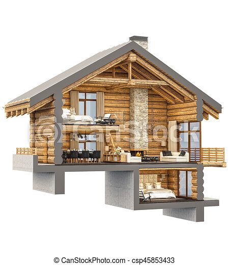Rendre section chalet 3d chalet confortable - Dessin de chalet de montagne ...