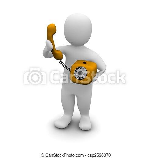 rendu, illustration., haut, téléphone., orange, cueillette, 3d, homme - csp2538070