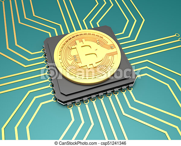 rendu, sur, bitcoin, illustration, arrière-plan., 3d - csp51241346