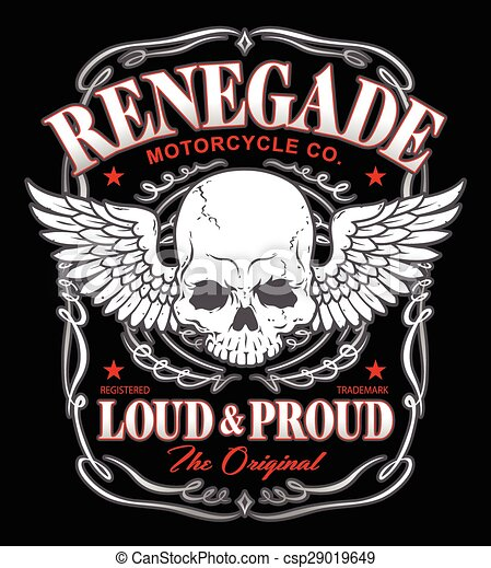 Renegade winged skull graphic - csp29019649