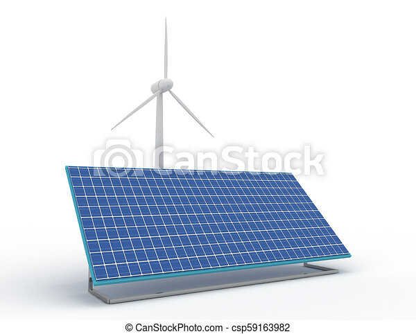 Renewable energy concept with grid connections solar panels and wind turbines. 3d rendered illustration - csp59163982