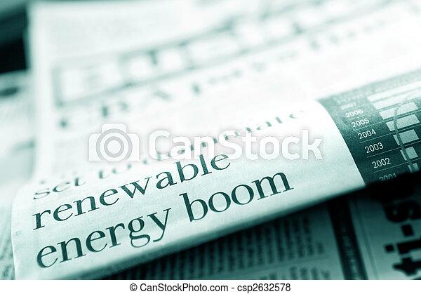 Renewable Energy Newspaper Headline - csp2632578