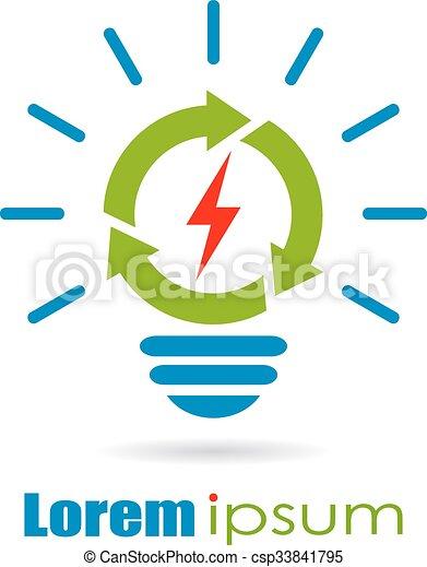 Renewable green energy logo - csp33841795