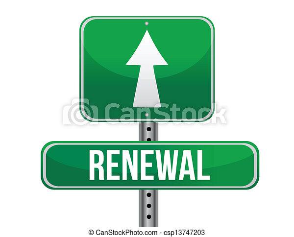 Renewal Road Sign Illustration Design Over A White Background