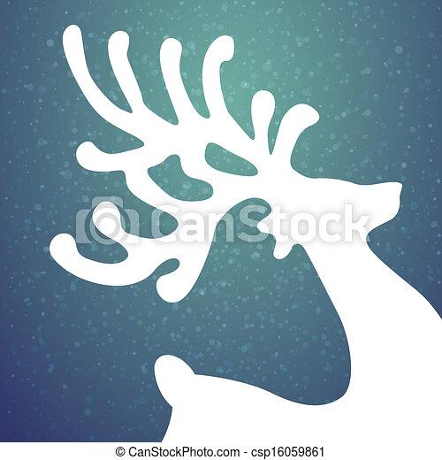 renna, stelle, inverno, fondo, neve - csp16059861