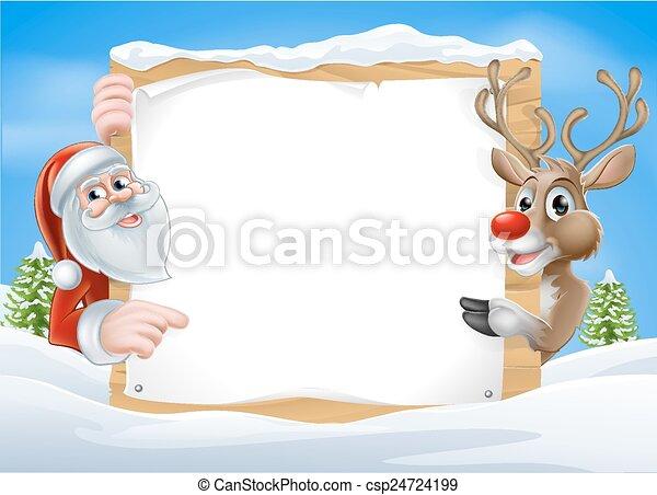 renne, noël, santa, signe - csp24724199