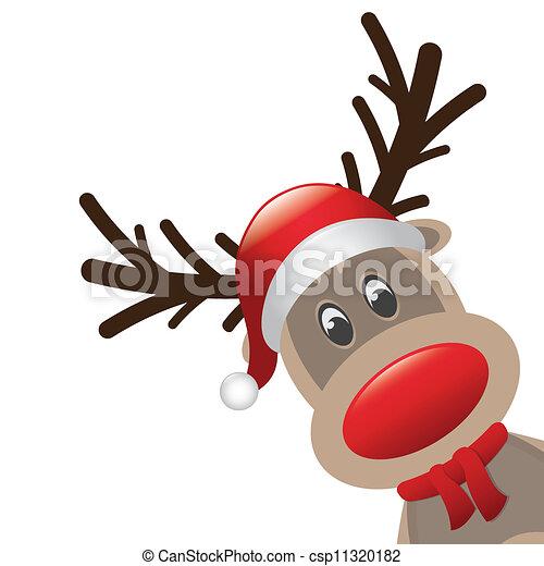 renne, rudolph, nez, rouges - csp11320182