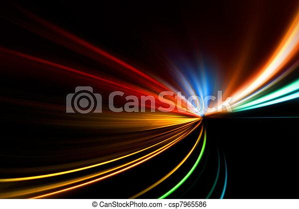 rennen, schnell, landstraße, nacht - csp7965586
