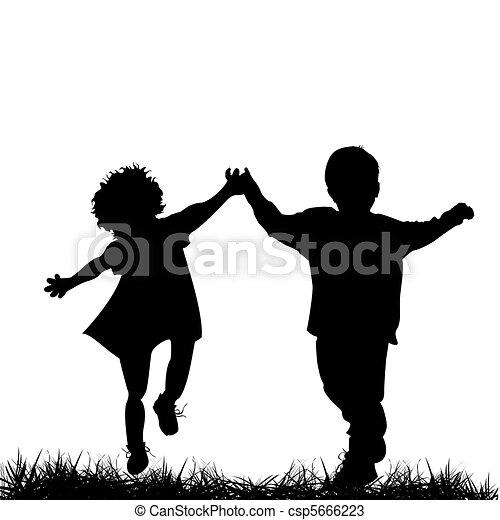 rennende , kinderen - csp5666223