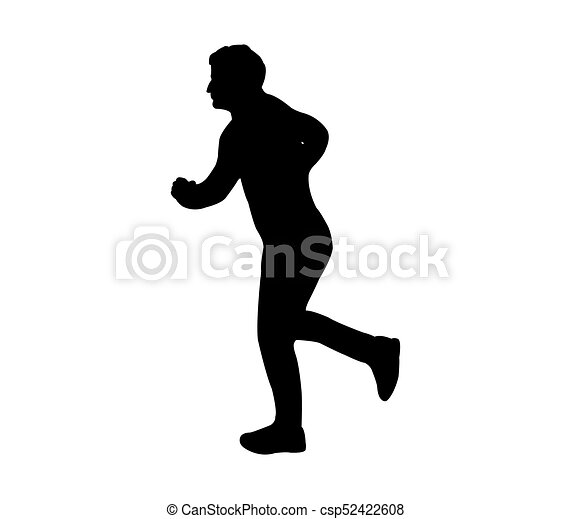 rennende , silhouette, man - csp52422608