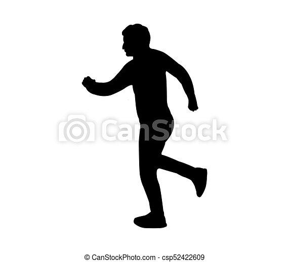 rennende , silhouette, man - csp52422609