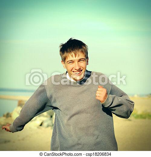 rennende , tiener, vrolijke  - csp18206834