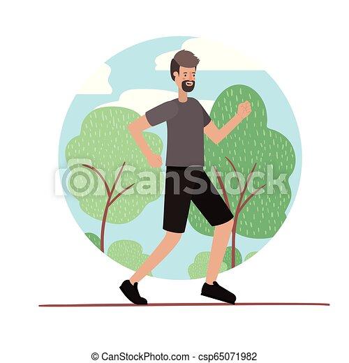 rennender , bart, park, junger mann - csp65071982