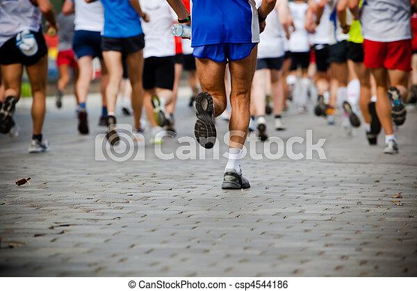 rennender , leute, stadt, marathon - csp4544186