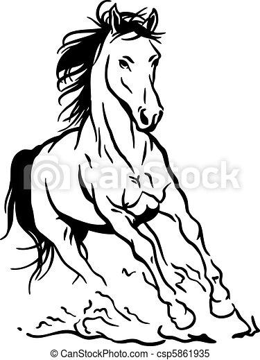 Rennender Pferd Schwarz Weißes Freigestellt