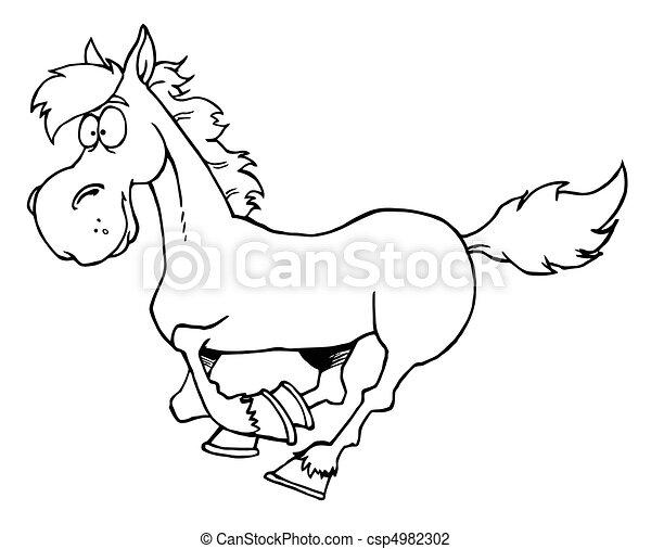 Rennender , pferd, umrissen, karikatur. Pferd, färbung,... Vektor ...