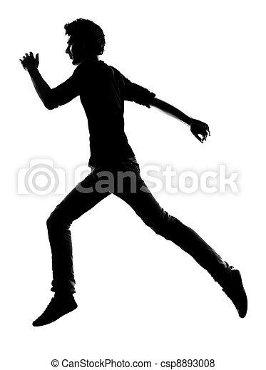 rennender , silhouette, junger mann - csp8893008