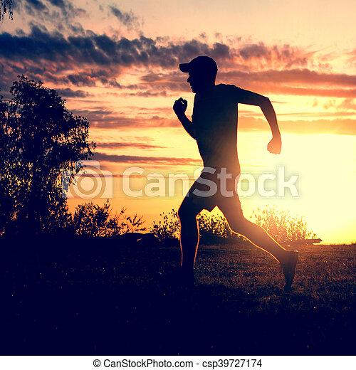 rennender , silhouette, mann - csp39727174